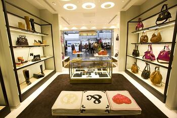 In store promotional display Mulberry example - KSF Global